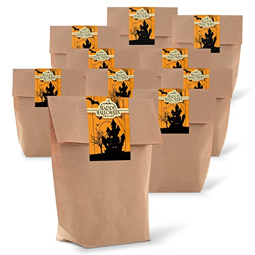 25 braune Geschenkbeutel mit Boden 14 x 22 x 5,6 cm aus Kraftpapier + 25 Aufkleber Sticker