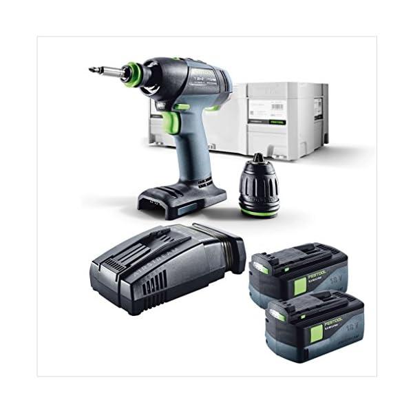 Festool T 18+3 Li-Basic Akku Bohrschrauber 18V 50Nm Brushless + 2x Akku 5,2Ah + Ladegerät + systainer