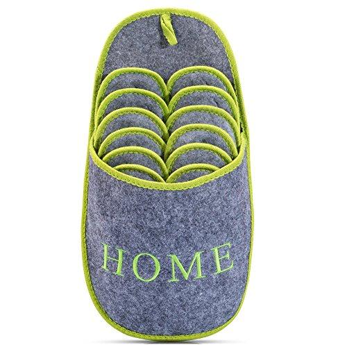 Abs gaestepant offel home | grey green | set | | antiscivolo pantofole con borsa di stoccaggio