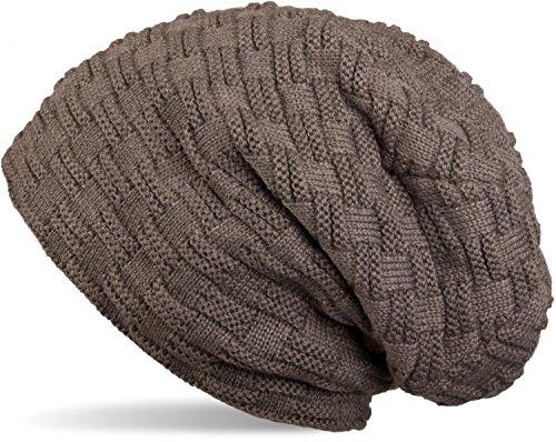 styleBREAKER warme Feinstrick Beanie Mütze mit Flecht Muster und sehr weichem Fleece Innenfutter, Unisex 04024058, Farbe:Taupe/Braun