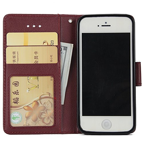 JIALUN-Telefon Fall Horizontale Flip Stand Case Cover mit Cash & Card Slots & Lanyard & Soft TPU Interio Rückseite für iPhone 5 & 5s & SE ( Color : White ) Brown