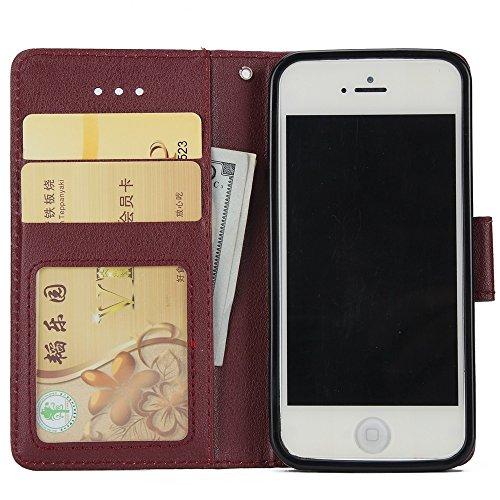 EKINHUI Case Cover Classic Premiu PU Ledertasche, Horizontale Flip Stand Case Cover mit Cash & Card Slots & Lanyard & Soft TPU Interio Rückseite für iPhone 5 & 5s & SE ( Color : Rosegold ) Wine