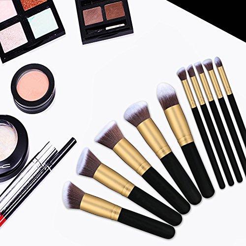TASIPA 10Pcs Make-up Pinsel Sets, Make-up Schönheit Pinsel Woods Set für Make-up, Make-up Pinsel Set Kit mit einem tragbaren Reisetasche (Gold + Schwarz) - 5