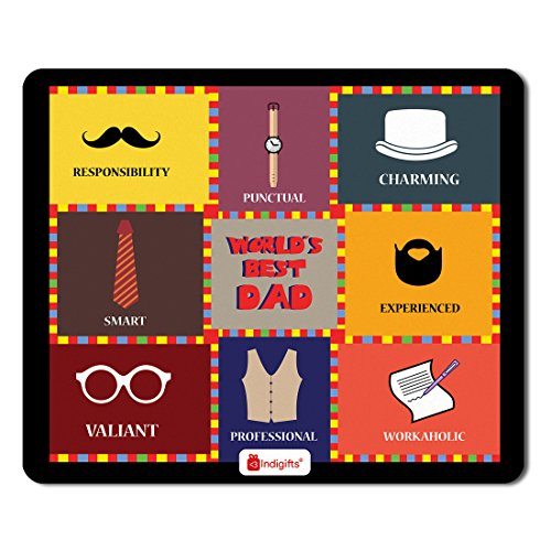 Indigifts Father Birthday Gifts World's Best Dad Quote Colourful Checks Graphic Multi Mouse Pad 8.5x7 inches -Best Dad-Papa-Birthday Gifts, Parents Gifts, Mousepad for Laptop, Fathers Gift, Mousepad
