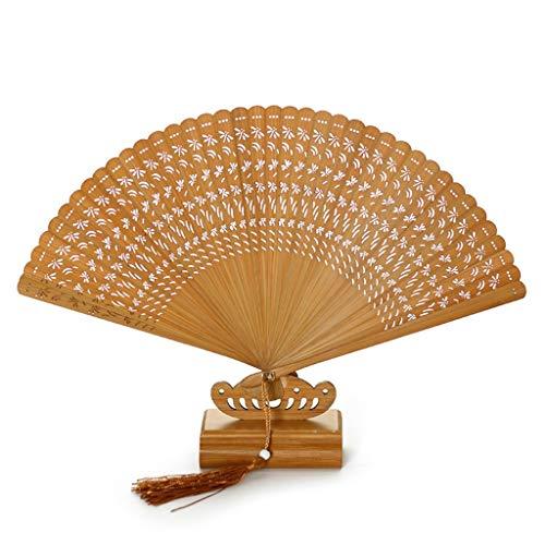 NIANJIAN Handfaltenfächer hölzerne chinesische Retro Art für Hochzeitsdekoration, Geburtstage, Hauptgeschenke, Tanz-Leistung (Farbe : Braun)