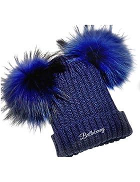 CAPPELLO BLU NAVY PON PON DOPPIO VERA PELLICCIA (12 MESI - 3 ANNI) CUFFIA BIMBA CAPPELLINO BABY Hat Fur Kids Double...