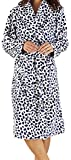 Ladies Luxury Soft Fleece Blue Spotted Dressing Gown Bath Robe House Coat with Belt and Shawl Collar