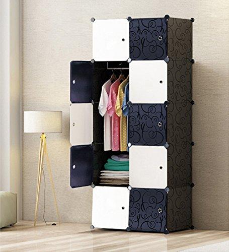 PREMAG Regalsystem Kleiderschrank für hängende Kleidung, Kombischrank, modularer Schrank für platzsparende, ideale Aufbewahrung Organizer Cube für Bücher, Spielzeug,...