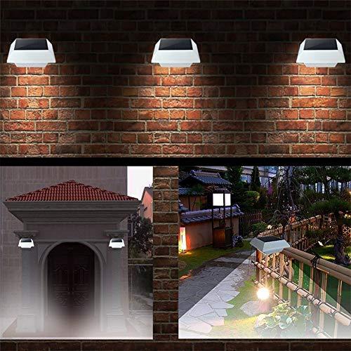 dontdo 4 LED Solar Power Bewegungsmelder Garten Licht Zaun quadratische Lampe Leuchtdauer 6-9 Stunden