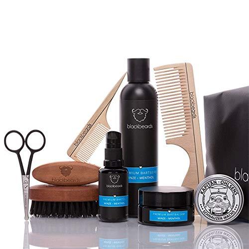 blackbeards Bartpflege Set Ultimativ Minze-Menthol – Hochwertiges Set für alle Vollbärte – Für die tägliche Bartpflege – Zehnteiliges Set mit allem, was dein Bart ()