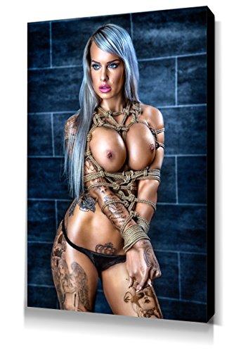 Topless Portrait Vanessa Louis - Leinwand Bild 60x40cm, Fine Art of Bondage, sexy erotik fetisch BDSM Kunstdruck Wandbild auf Keilrahmen, erotische Wand-Dekoration mit Girls und Seilen