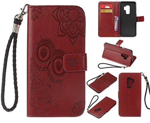 Cozy Hut Samsung Galaxy S9 Hülle,Samsung Galaxy S9 Weinrot Leder Handyhülle, Ledertasche Brieftasche für Samsung Galaxy S9 Eulen Muster Design, PU Leder Hülle Wallet Case Folio Schutzhülle Schutz