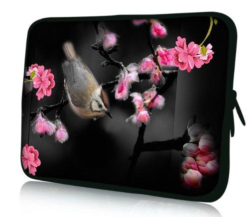 Luxburg® Design Laptoptasche Notebooktasche Sleeve für 17,3 Zoll (auch in 10,2 Zoll | 12,1 Zoll | 13,3 Zoll | 14,2 Zoll | 15,6 Zoll | 17,3 Zoll) , Motiv: Vogel unter Kirschblüten