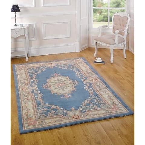 Gran calidad de lana Oriental tradicional diseño de flores Luz Azul alfombra en 120x 180cm (4'x 6') alfombra