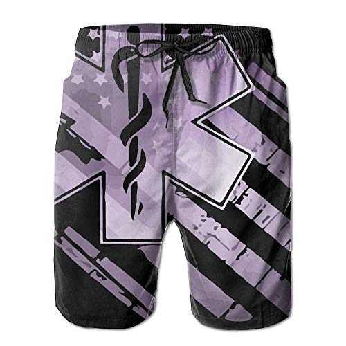 9 Pocket Emt Pant (Naiyin EMT US Flag Men's Quick Dry Beach Board Shorts Swim Trunk (L))