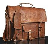 Bolsos de cuero Vintage Messenger de cuero suave Marrón Bolso de la computadora portátil Mal...