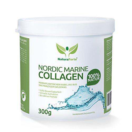 NaturaForte Marine Collagen Protein - Kollagen Hydrolysat Peptide Hochdosiert - Pulver aus natürlichem Wildfang - Lift Drink - Hypoallergen - In Deutschland geprüft - Typ I und Typ II - (Haar Typ Gesichts)