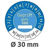 Avery Zweckform 6984 Prüfplaketten (80 Prüfaufkleber aus Vinyl, Geprüft gem. VDE, 2019-2024, Ø 30 mm, im praktischen Block) blau