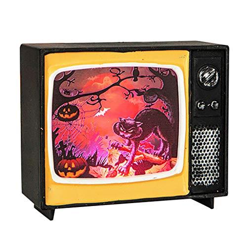 Heetey Halloween Dekoration Halloween-Verzierungs-Fernsehen-Licht, das Retro- Licht-Urlaubsparty-Atmosphären hängt Lichterkette Lichterkette Dekoration Natur Wohnkultur Halloween - Einfache Kostüm Tv Zeichen