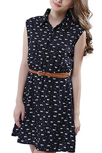 Camisa De Verano Sin Mangas Mujer Gato Impreso Vestido con Cinturón Navy L