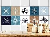 GRAZDesign 770395_15x15_FS10st Fliesenaufkleber Kompass maritim | Fliesenbilder für Bad | Blau - Weiß - Braun | Fliesen zum Aufkleben Bad | Selbstklebende Fliesen-Folie | verschiedene Motive (15x15cm // Set 10 Stück)