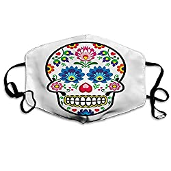 Anti Dust Face Mask,Reusable Warm Windproof Mouth Mask,Polish Folkloric Art Style Mexican Sugar Skull Design Ethnic Carnival Theme