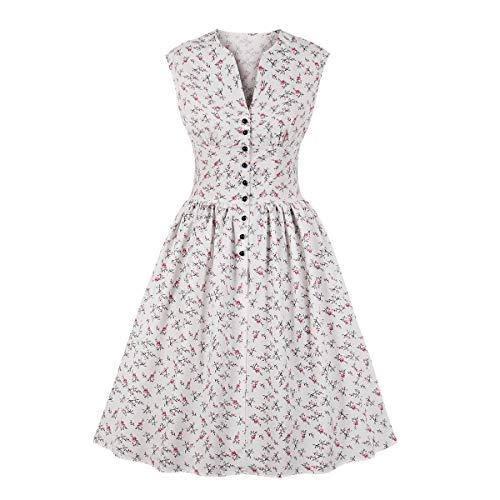 Wellwits Damen Teekleid mit geteiltem Ausschnitt, Blumenknöpfe, 1940er Jahre, Vintage-Stil - weiß - ()