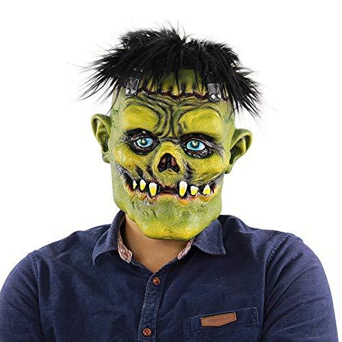 Circlefly Horror brünett grüne Gesicht Monster Perücke Halloween Latexmaske geeignet für Erwachsene Kinder Tragen