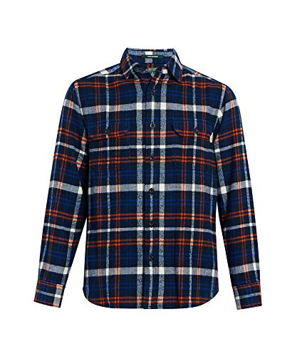 Woolrich Herren Oxbow Bend Flannel Shirt Modern Fit Button Down Hemd, Blue Charcoal, X-Groß