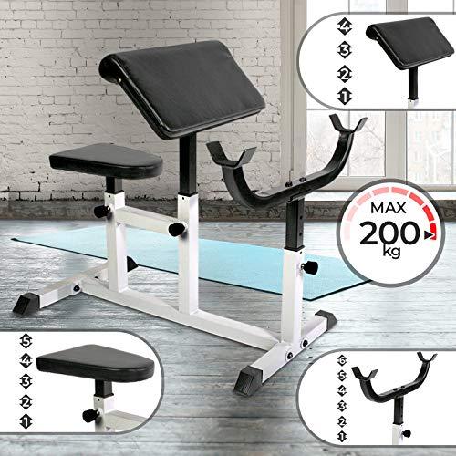 Physionics Banco de Biceps - Carga máxima 200 kg, Apoyabrazos y Asiento Regulable, Soporte Ajustable...