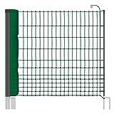 Voss.farming Rete pollame farmNET per recinzioni elettrificabili, 112 cm di altezza e 25 m di lunghezza, a punta doppia, dotata di 9 pali, colore verde