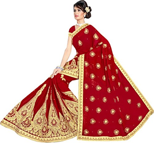 DIYA Fashion Women's Georgette Saree With Blouse Piece (Red Heavy emroidary with...