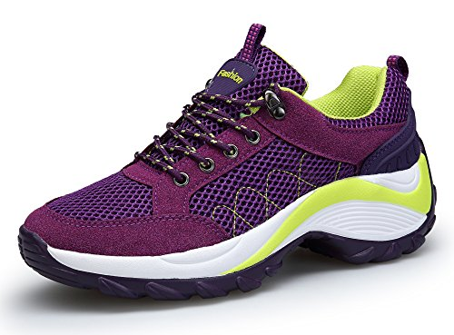 KOUDYEN Damen Mesh Sportschuhe Trendfarben Runners Schnür Sneakers Laufschuhe Fitness,XZ006-purple-40EU
