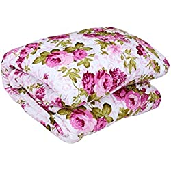 OM GYATRI Floral Print Super Soft and Warm Micro Fiber Single Bed Reversible Dohar/AC Comfort/Blanket/Quilt ( Size 60X 90 Inch)