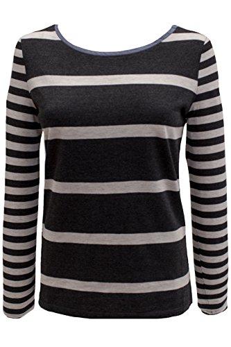 edc by ESPRIT Damen Streifen Longsleeve-Shirt Schwarz (BLACK 4 004)