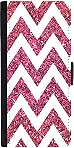 Snoogg Chevron Pinks Graphic Snap On Hard Back Leather + Pc Flip Cover Lg G4