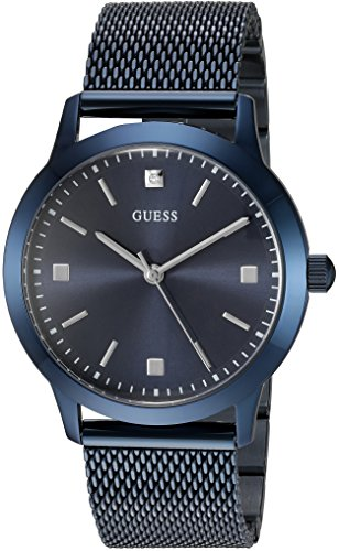 GUESS Men's U0919G4 Dressy Blue Watch with  Blue Dial  and Mesh Band