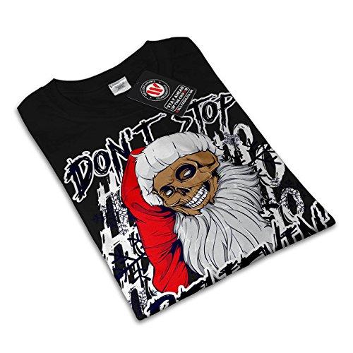 Weihnachtsmann Schädel Spaß Weihnachten Damen S-2XL T-shirt | Wellcoda Black