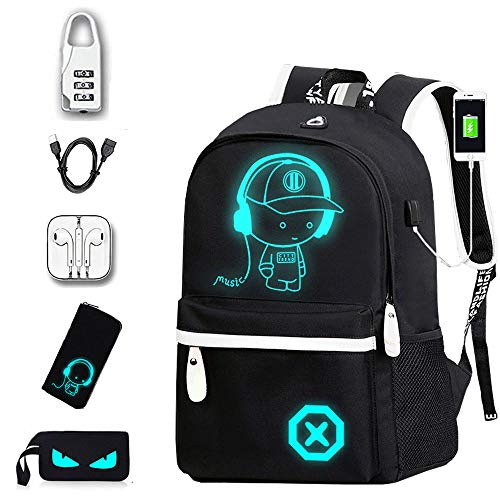 PUTAOY, Anime Luminous Backpack, Anti-theft Backpack, With Lock, Zipper, Headphones, Pencil Case, Wallet, Small Backpack, Laptop Backpack, Black (Zipper Anime Wallet)