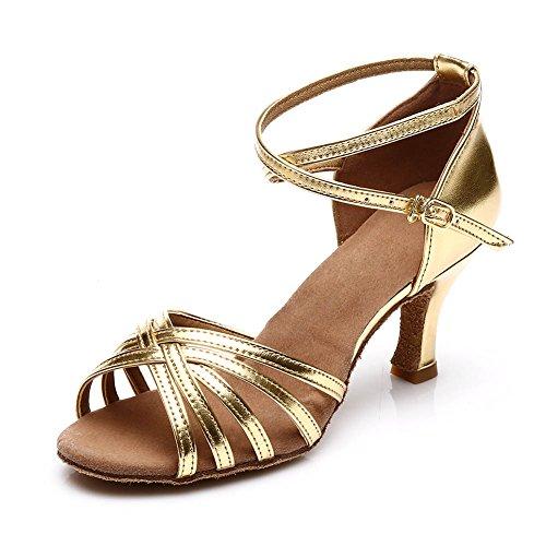 SWDZM Damen Ausgestelltes Tanzschuhe/Standard Latin Dance Schuhe Satin Ballsaal ModellD213-7 Gold EU38.5