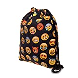 Turnbeutel Fullprint All Over Emoticon Emoji Black Smileys Beuteltasche Hipsterbag -