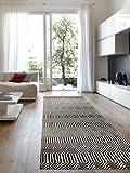 Benuta Teppich Läufer Sloan, Wolle, Baumwolle, Schwarz/Weiß, 66 x 200.0 x 2 cm