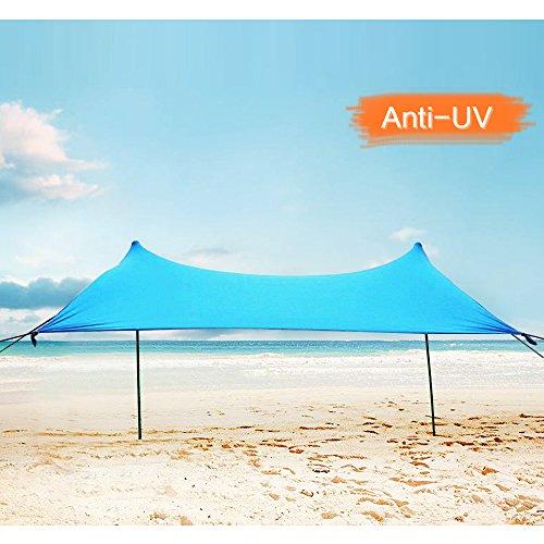 Zelt 4 personen, Lovebay Sonnensegel Outdoor Strandmuschel uv Schutz, leicht 100% Lycra Sichtschutz Garten Vorzelte 210 x 210 cm für Camping, Wandern, Angeln, Strand, Picknick - blau