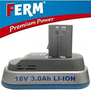 Ferm LI-ION 18V Batterie 3,0 Ah Batterie de Remplacement CDA1051 FPB-1800L Premium Power