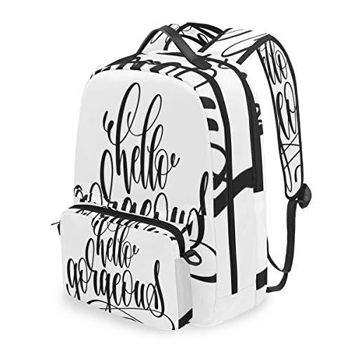 DINANY Hallo wunderschöne Kalligraphie Schriftart drucken Abnehmbare Rucksack Schule Computer Tasche reiserucksack zu fuß tragbare ranzen Camping Rucksack für Junge mädchen