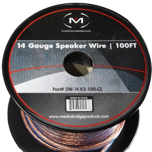 Mediabridge 14AWG Speaker Wire (100 Feet) - Spooled Design with Sequential Foot Markings