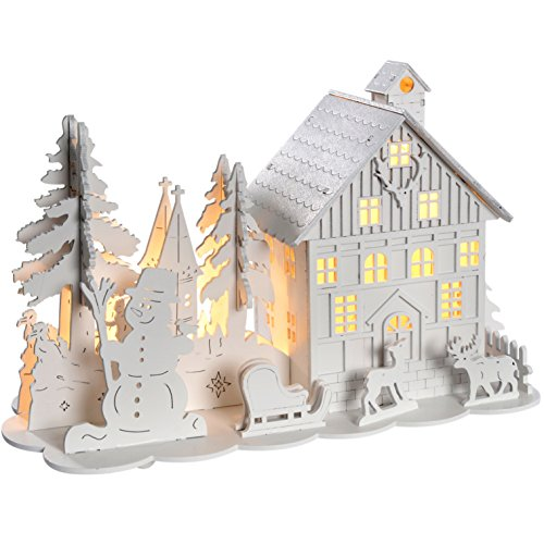 WeRChristmas Pre-Lit Wooden House Snow Reindeer Scene with Trees Warm LED Lights - White