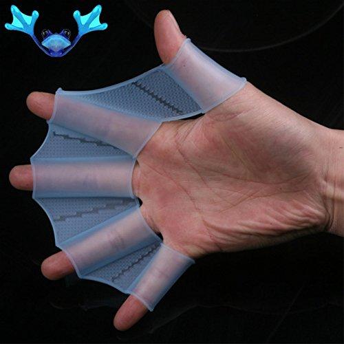 Weich silikon Schwimmflossen Hand gewebter Flossen Schwimmen Gear Training Handschuhe Größe L
