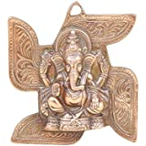 APKAMART Lord Ganesh Wall Hanging - Ganpati Seated On Swastik - 8 Inch - Wall Showpiece For Wall Decor, Room Decor, Home Decor And Gifts