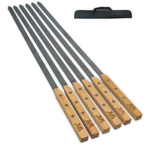 Jma 6Spiedi per barbecue acciaio inox  Extra Lunga Spiedini 53 Manico legno legno di faggio incl. pratica borsa per il